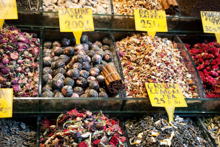 teas: Various Teas from flowers and spice in the famous Spice market in Istanbul Turkey
