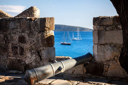 cruise travel: View to the Bay with boats in Aegean Sea from the Wall of Bodrum Castle, Turkey