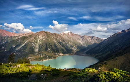 Mountain lake panorama with forest in Almaty, Kazakhstan