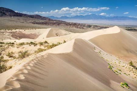 Sand dunes called Singing Mountain in the desert of Kazakhstan