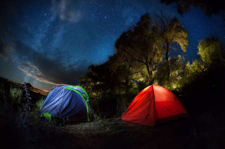 stars night: Tent camping in the forest with starry night sky