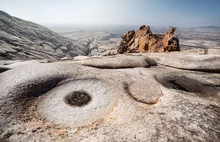 Extinct volcano Bektau Ata in the desert of eastern Kazakhstan Stock Photo
