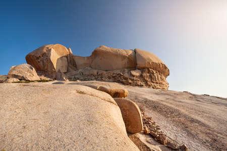 ata: Extinct volcano Bektau Ata in the desert at beautidul sunset of eastern Kazakhstan