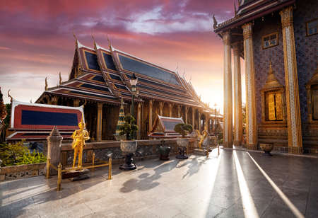 Temple of the Emerald Buddha Wat Phra Kaew in Bangkok at sunset