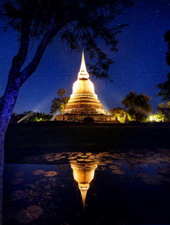 stars: Golden Stupa Buddhist Temple in Sukhothai Historical Park, Thailand