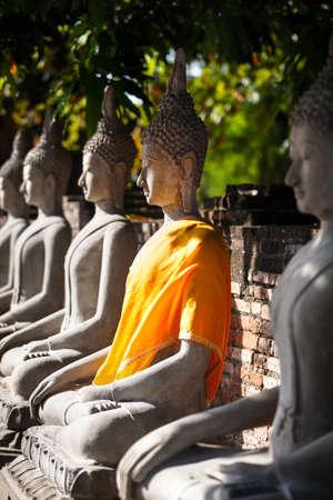 Buddha statues in Wat Yai Chai Mongkol monastery in Ayuttaya, Thailand