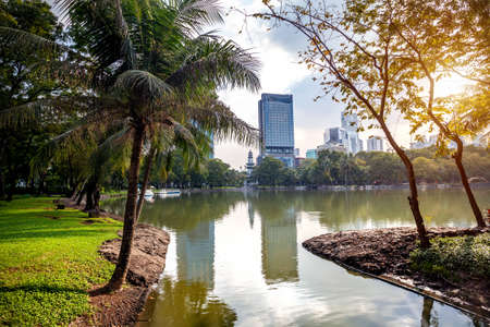 Lake in the heart of Business district in public Lumpini park of Bangkok, Thailand Stock Photo