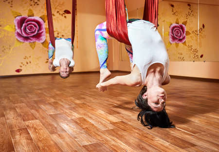 dhanurasana: Two Young woman doing antigravity yoga in hammock at wellness studio with rose on the wall