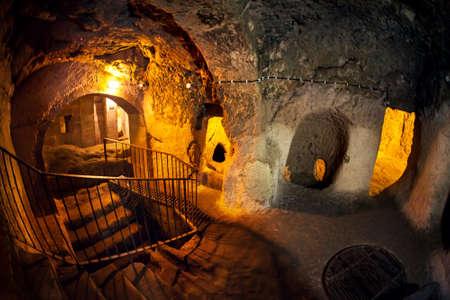 Derinkuyu città grotta in Cappadocia in Turchia Archivio Fotografico - 76969773