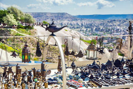 Souvenirs and dishware at market in Cappadocia, Turkey