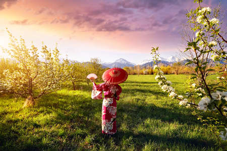 Woman in kimono with red umbrella in the garden with cherry blossom at mountain and purple sky background Banco de Imagens