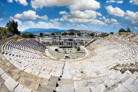 Ruins of Bodrum Antique Theatre , Halikarnassos ancient city in Turkey