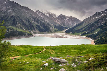 Beautiful landscape of Big Almaty Lake in the mountains of Tian Shan in Kazakhstan
