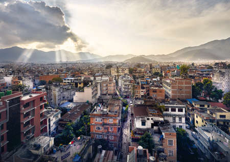 Beautiful view of Kathmandu the capital of Nepal from rooftop at sunset Stock Photo