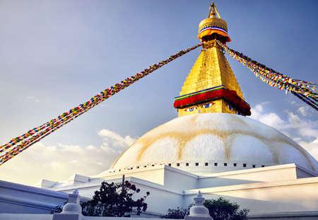 Bodnath Great Buddhist Stupa with prayer flags in Kathmandu