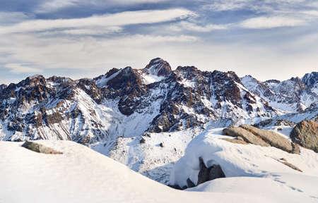 Panoramic view of high mountain range of Zaili Alatay include Peak Nursultan (4376 meter) in Almaty, Kazakhstan