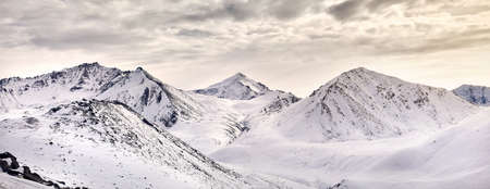 Panoramic view of high mountain range of Zaili Alatay include Peak Sovetov (4317 meter) in Almaty, Kazakhstan