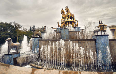 Kolkhida Fountain with golden horse statues on the central square of Kutaisi, Georgia, Europe.