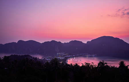 Beautiful purple sunset at Island Koh Phi Phi in Krabi Province, Thailand  Stock Photo