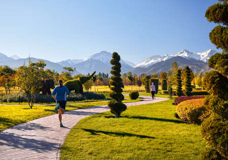 Young couple training in topiary park. Man is jogging and woman doing Nordic walking with poles. Healthy life concept.