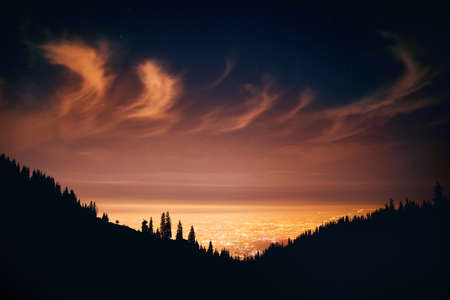 Glowing City lights at night sky with stars and silhouettes of pine tree and mountain in Almaty, Kazakhstan.