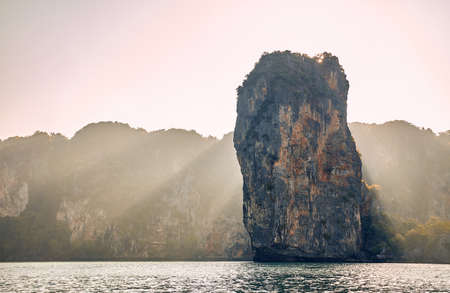 Tropical islands from rock at sunrise in Andaman sea of Krabi province, Thailand