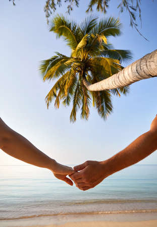 Summer couple holding hands at tropical beach with palm tree at sunrise.
