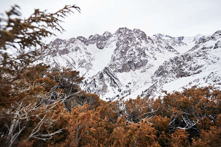 High mountains with snow in Northern Tien Shan, Kazakhstan Stock Photo