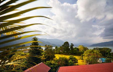 Beautiful view to Phewa lake from hotel in Pokhara, Nepal