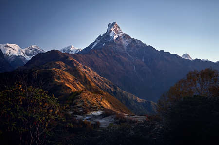 Beautiful landscape of Himalaya Mountain Fishtail Machapuchare at Mardi Himal treck, Nepal