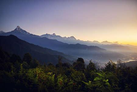 Beautiful landscape of Himalaya Mountain Annapurna South and Hinchuli at sunrise, Nepal