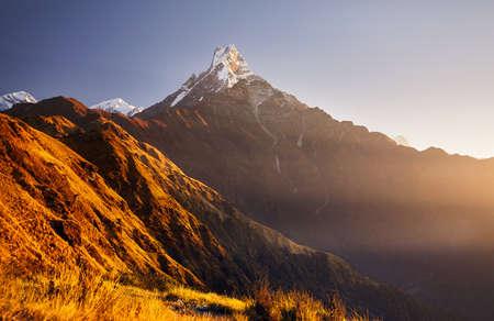 Beautiful landscape of Himalaya Mountain Fishtail Machapuchare at sunrise, Nepal
