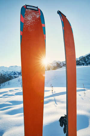 Pair of skis in snow with orange camus at sunny morning at the mountains 写真素材 - 119616800