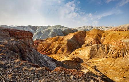 Yellow mountains in the desert park Altyn Emel in Kazakhstan