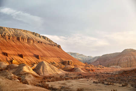 Epic Landscape of Canyon and layered mountains in beautiful desert park