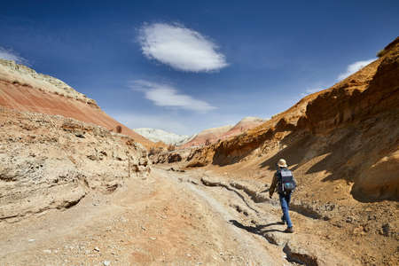 Tourist with backpack and camera walking in dusty canyon on surreal red mountains against blue sky in the desert Stok Fotoğraf