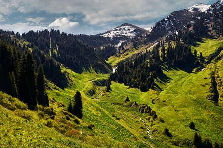 Hermosas colinas verdes del bosque y la montaña nevada en el valle contra el cielo nublado en Kazajstán Foto de archivo