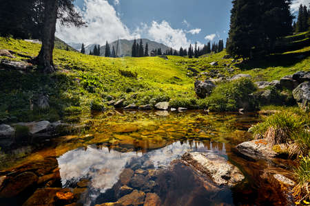 Mountains reflection in the clear lake at sunny day Stok Fotoğraf