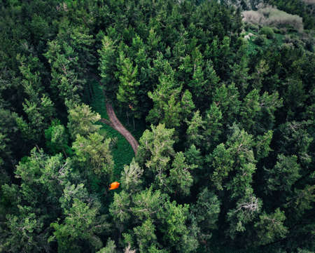Aerial view of orange tent at forest in the mountains. Photo taken with Drone 免版税图像