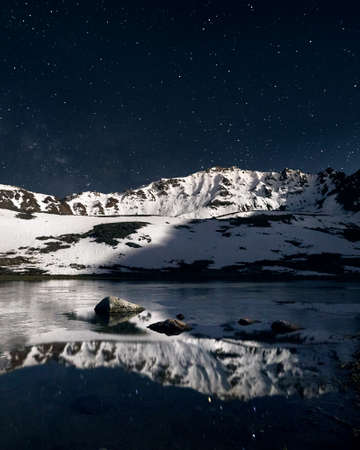 Beautiful scenery of white peak mountains and lake at foreground against night sky full of stars. Astrophotography and long exposure.