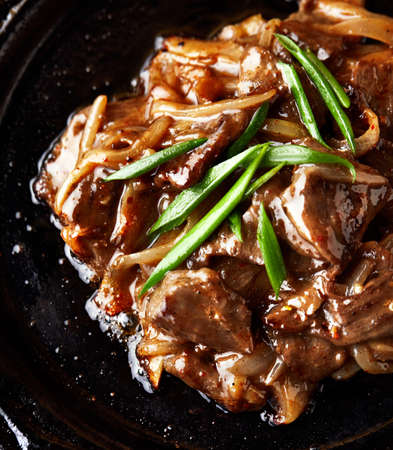 Roasted meat with green onion on dark background close up. Keto or Paleo diet 免版税图像