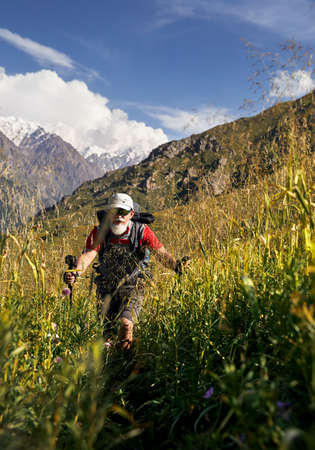 Portrait of Old tourist with white beard and backpack walking on green hill in the mountain valley with high snowy peaks