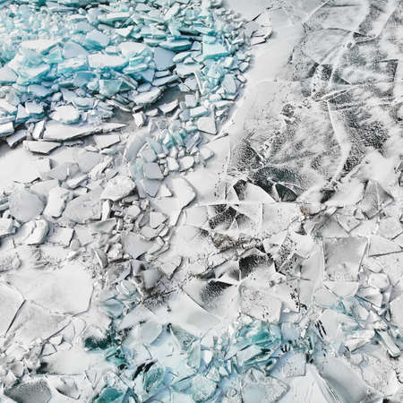 Top view of Ice hummock and cracks at frozen lake Baikal, Russia Zdjęcie Seryjne