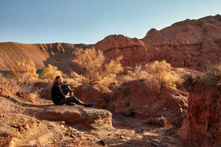 Tourist with beard and long hair at the dusty canyon on surreal red mountains against blue sky in the desert Zdjęcie Seryjne