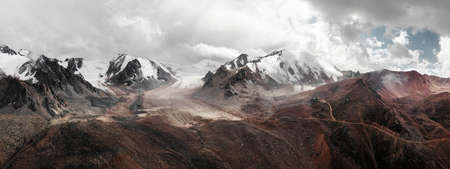 Aerial panorama view of the mountain valley in Tien Shan mountains in Almaty Kazakhstan.