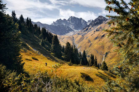 Small tourist with backpack is walking in the green mountain valley with rocky peaks