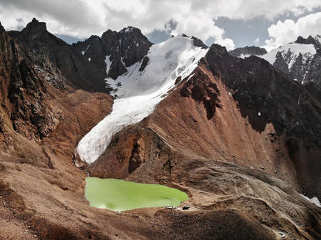 Aerial view of the lake in Tien Shan mountains in Almaty Kazakhstan. Stock Photo