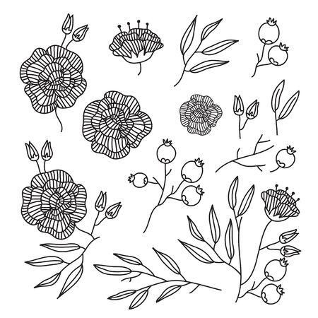 Line Flower Element Ilustrace