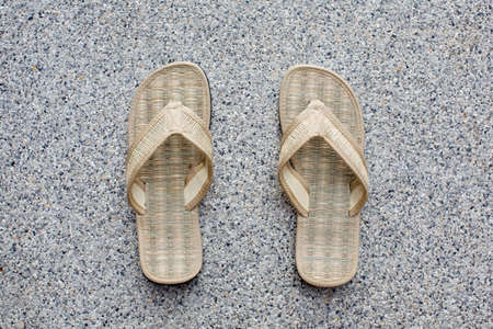 Pair of bamboo flip flops photo