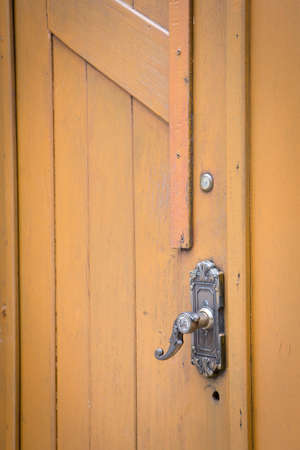 Wood door and door handle photo
